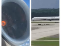 Avión aterriza de emergencia porque uno de sus motores se averió.