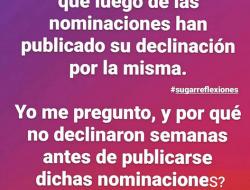 #sugarreflexiones No a las Nominaciones Premio Soberano?